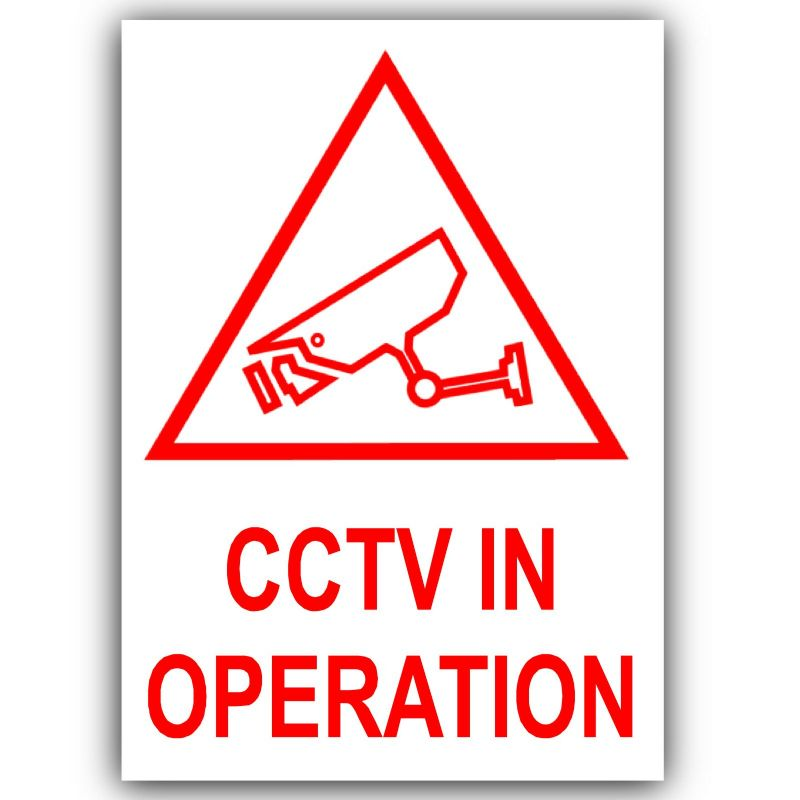 1 x CCTV In Operation Stickers-Red on White-120x87mm-Closed Circuit Television Security-Self Adhesive Vinyl Sign